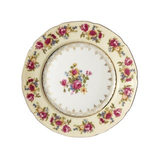 Gold and Pink Floral Painted Ceramic Plate With Scalloped Edges and Botanical Design For Sale