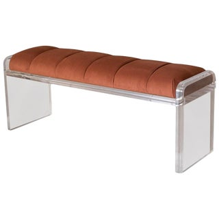 Vintage Lucite Tufted Copper Bench For Sale