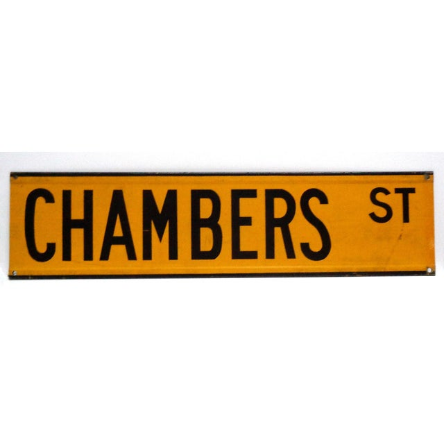 C. 1960's Manhattan street sign, yellow reflective with black lettering, from the era when NYC street signs were color...