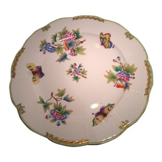 """Herend China Dinner Plates 11"""" Queen Victoria Pattern For Sale"""