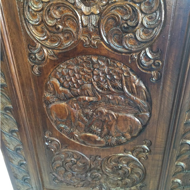 5 Panel Engraved Wood Screen From Indonesia - Image 6 of 6