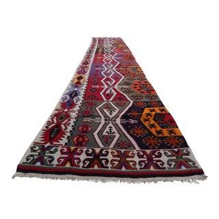 1960s Vintage Handmade Turkish Kilim Runner - 2′9″ × 13′4″ For Sale