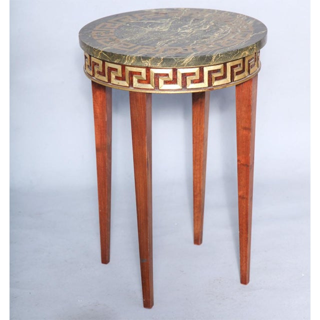 Greek Key Carved Accent Table - Image 8 of 10