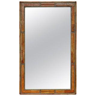 Moroccan Orange Dye Bone and Wood Rectangular Mirror For Sale