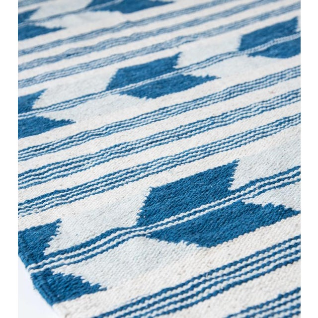 Blue & White Handwoven Chevron Rug - 2′6″ × 5′ - Image 4 of 5