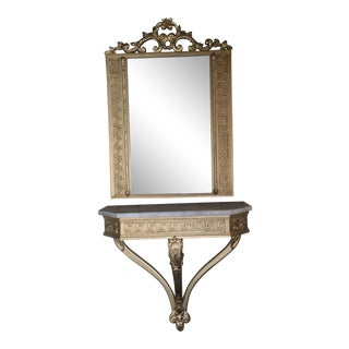 Antique Marble Top Console Table Shelf and Mirror For Sale