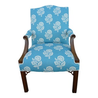 1960s Vintage Chippendale Peacock Blue/Walnut Armchair For Sale