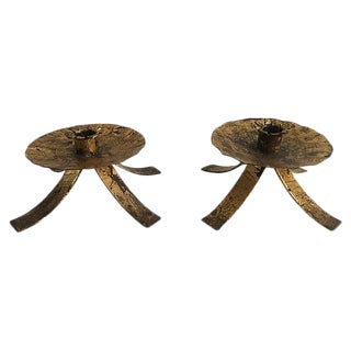 Mid-Century Spanish Gilt Candleholders - A Pair For Sale