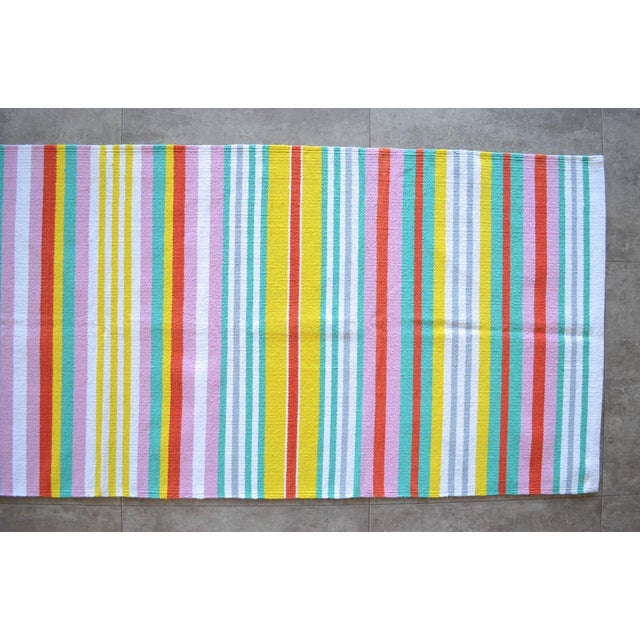 2010s Hand-Made Rug Striped Zara Home Cotton Runner Rug - 2′4″ × 6′8″ For Sale - Image 5 of 9