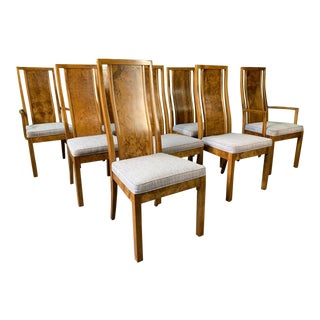 Burl Wood Dining Chairs by Founders Furniture in the Manner of Milo Baughman For Sale