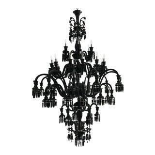 Custom Baccarat-Style Black Glass Chandelier