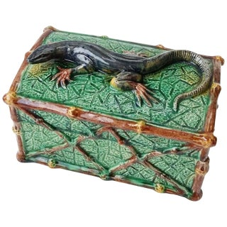 19th Century Victorian Saint Honore Les Bains Majolica Palissy Lizard Box For Sale