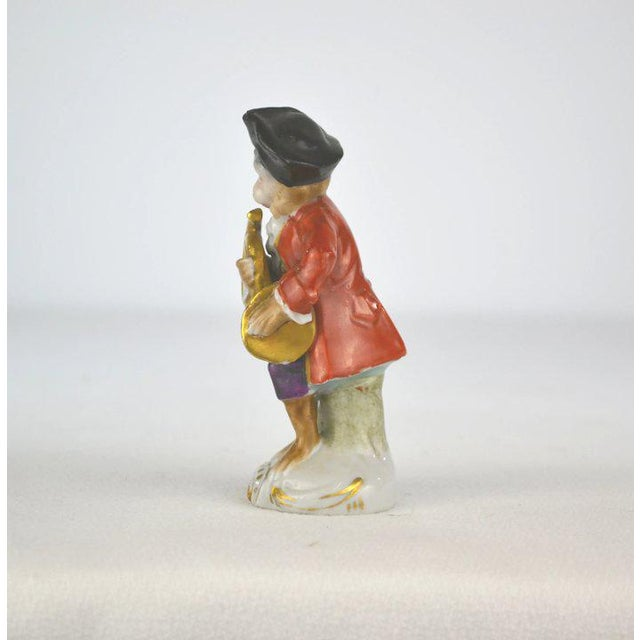 Figurative Antique Porcelain Monkey Musician, from Germany, Red Coat For Sale - Image 3 of 8