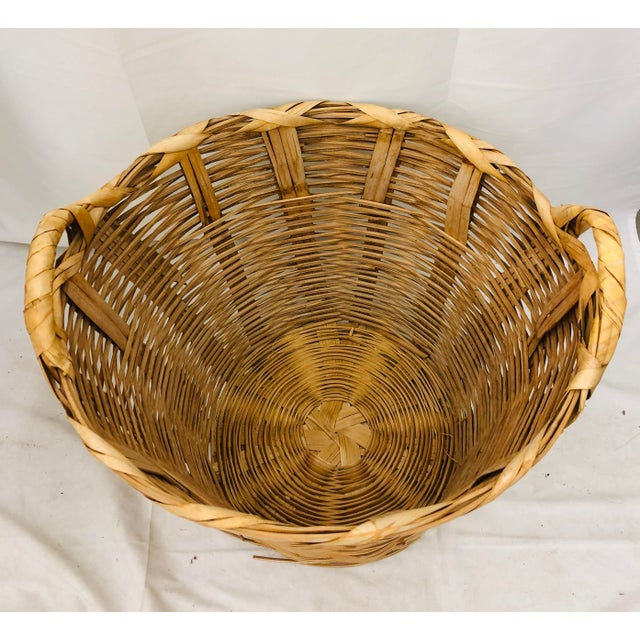 Wicker Vintage Natural Woven Wicker Laundry Basket For Sale - Image 7 of 9