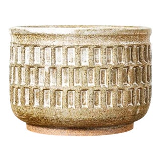 Christian Boehr Ceramic Stoneware Planter — Slot Pattern — White Glaze — P6 For Sale