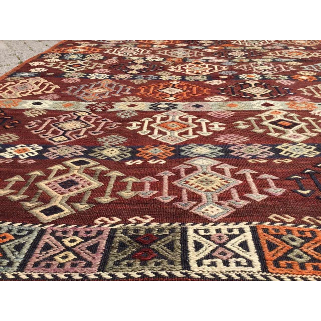 1960s Vintage Gorgeous Embroidered Kilim Rug For Sale - Image 5 of 12