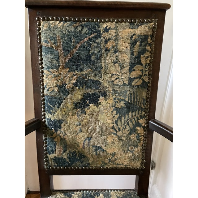 Late 19th Century Charles II Revival 19th Century Walnut Arm Chairs With 17th Century Verdure Tapestry Upholstery - a Pair For Sale - Image 5 of 13