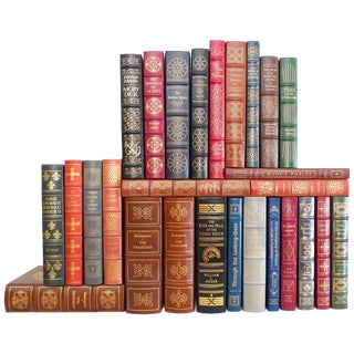 1980s Vintage Decorative Leather Books, Signed, Limited and 1st Edition Easton Press Collection - 25 Pieces For Sale
