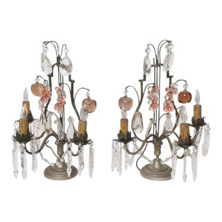 1920s Louis XV Bronze and Crystal 3-Light Girandoles - a Pair For Sale