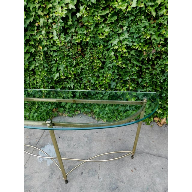 1970s Half Moon Glass and Brass Console Table For Sale - Image 4 of 6