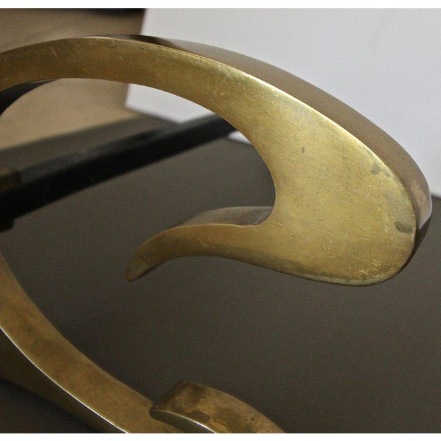 1930s French Deco C-Scroll Brass Andirons - a Pair For Sale - Image 10 of 13