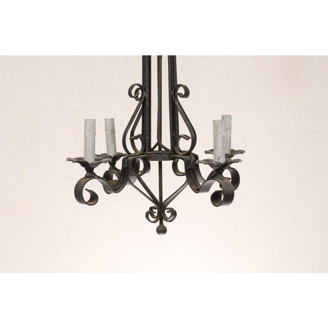 Tall French Four Light Black Iron C-Scrolled and S-Scrolled Chandelier For Sale In Atlanta - Image 6 of 9
