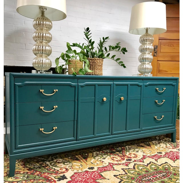 Drexel 1960s Hollywood Regency Drexel Teal Jewel Tone Buffet For Sale - Image 4 of 8
