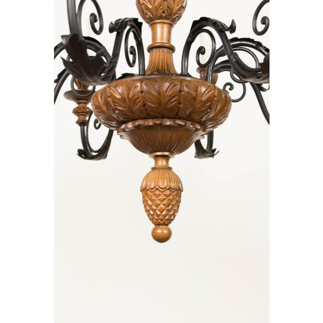 Metal Iron & Wood Eight Arm Chandelier For Sale - Image 7 of 9