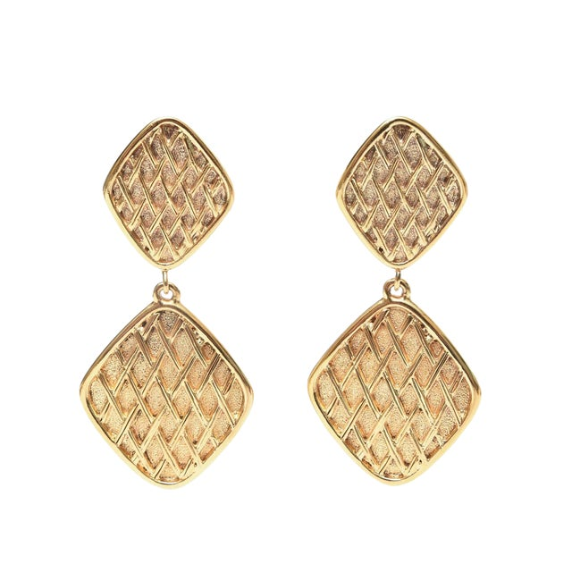 Chanel Marked Double Criss Cross Hanging Clip on Earrings - a Pair For Sale