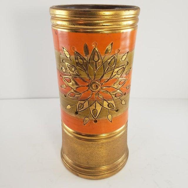 Mid Century Modern Italian Bitossi Italy Sun Rosenthal Netter Pottery Vase Vintage Sunburst Orange Gold For Sale - Image 6 of 8