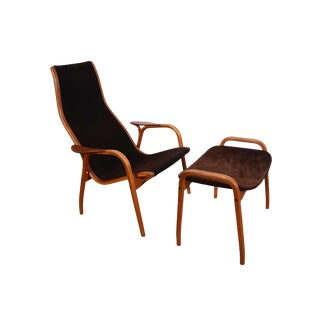 Swedese Yngve Ekstrom Danish Modern Lamino Chair and Ottoman For Sale
