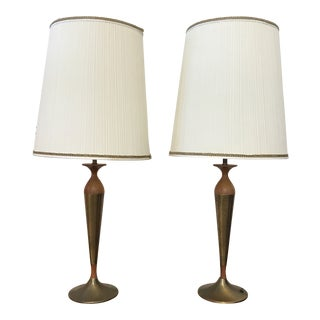 1960s Mid Century Modern Brass Stemmed Table Lamps - a Pair