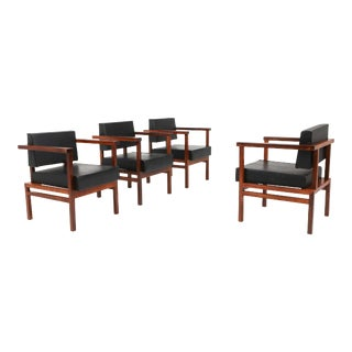Wim Den Boon Executive Chairs in Black Leather and Rosewood For Sale