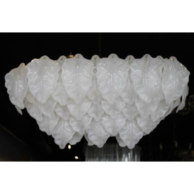 Vintage White Italian Murano Light Chandelier Leaf For Sale - Image 10 of 11