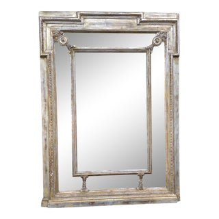 Antique Neoclassical Carved Regence Silver Leaf Mirror For Sale