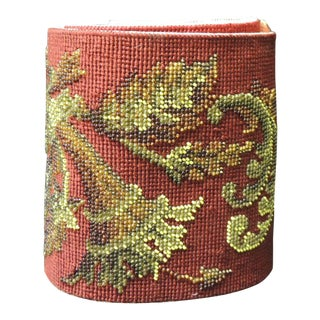 Vintage Victorian Red, Burgundy and Gold Glass Beaded Needlepoint Tapestry Sash For Sale