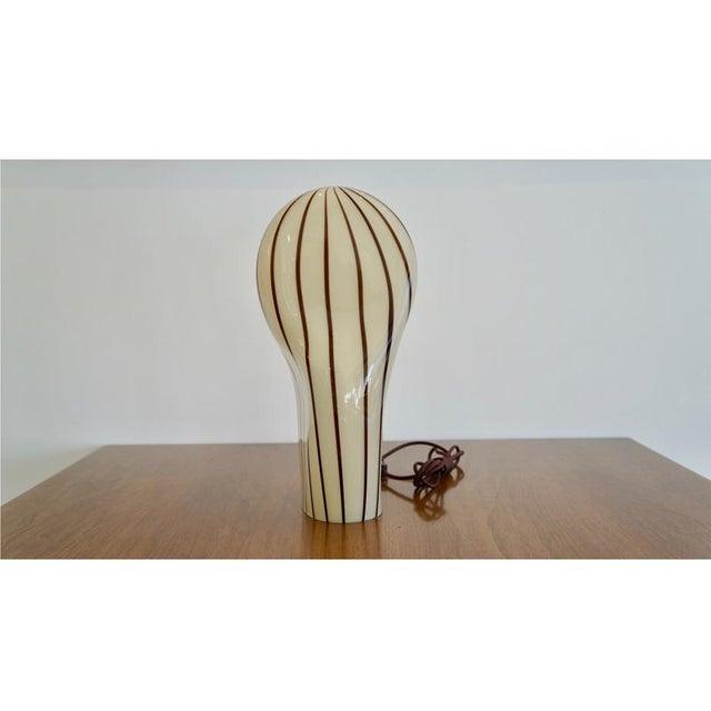 Striped Murano Italian Art Glass Lamp - Image 3 of 8