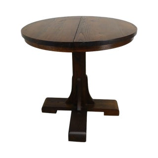 Salesman Sample Antique Round Oak Dining Table W/ 2 Leaves For Sale