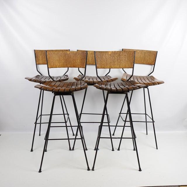 Arthur Umanoff Mid-Century Iron Bar Stools - Set of 5 - Image 11 of 11