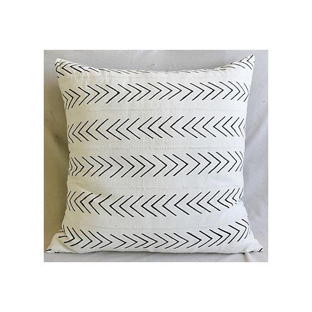 """Bohemian Chic Jumbo 32"""" Black & White Tribal Pillow/ Floor Cushion For Sale In Los Angeles - Image 6 of 8"""