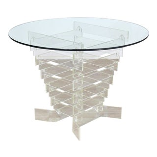 Mid-Century Modern Stacked Lucite Base Round Center Table For Sale