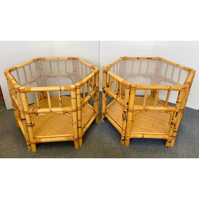 1960s Boho Chic Octagonal Rattan and Bamboo End Tables With Glass Tops - a Pair For Sale - Image 12 of 12