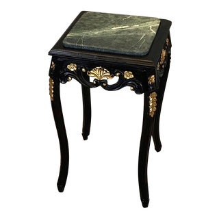 Louis XV Black End Table, Antique Vintage Furniture Reproduction, French Furniture For Sale