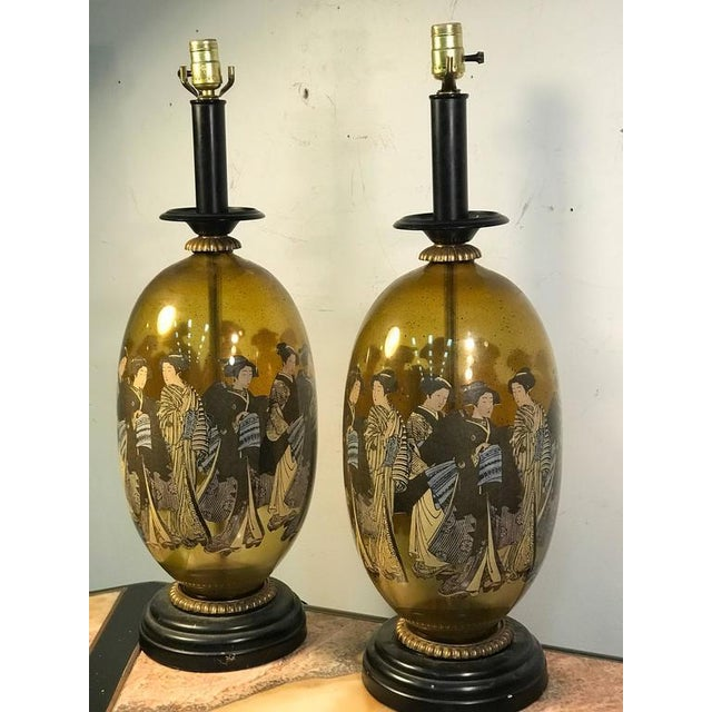 Glass Beautiful Pair of Asian Inspired Table Lamps For Sale - Image 7 of 7