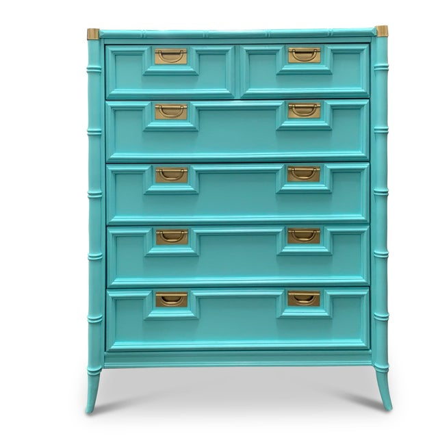 We love the newly lacquered look of this beautiful chinoiserie dresser with lovely faux bamboo detailing and slender...