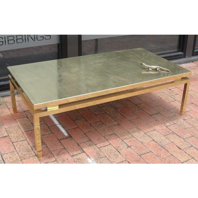 Mid-Century Modern Polished Brass Etched Top Cocktail Table by Rosseau For Sale - Image 3 of 10
