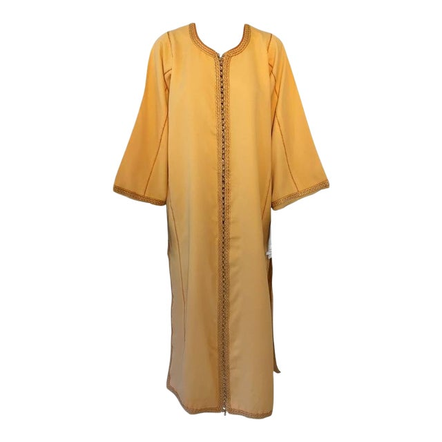 Moroccan Vintage Yellow Gold Caftan For Sale