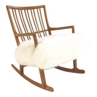 Vintage Hans Wegner for Mikael Laursen ML-33 Rocking Chair Reupholstered in Zebra Hide For Sale