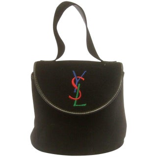 Yves Saint Laurent Chic Black Suede Ysl Embroidered Handbag C 1990s For Sale