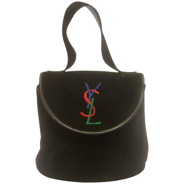 Yves Saint Laurent Chic Black Suede Ysl Embroidered Handbag C 1990s For Sale